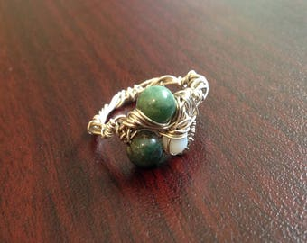 Twisted Silver Stone Ring