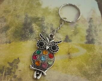 Rainbow Owl Keyring, Chakra Keyring, Owl Gift, Rhinestone Owl, Colourful Owl, Owl Accessory, Woodland, Animal Lover, Nature Lover, Birds