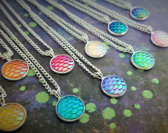 Mermaid Scales Necklace, Mermaid Tail Jewelry, Fantasy Pendant, Mermaid Gift, Ocean Necklace, Mermaid Scale Charm, Layering Necklace, Gift