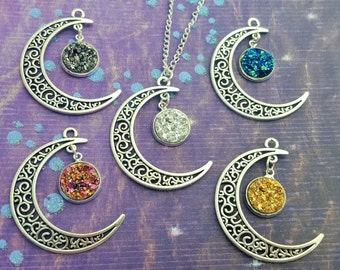 Moon Necklace, Lunar Jewellery, Crescent Moon Jewelry, Cosmic Chic, Space Necklace, Moon Pendant, Dainty Necklace, Boho Jewellery, Galaxy