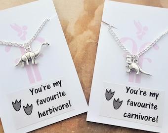 Dinosaur Gifts, Vegetarian Necklace, Herbivore Gift, Carnivore Gift, Unisex Necklace, Cute Dinosaur, Dinosaur Charm, Meat Eater, Vegan Gift