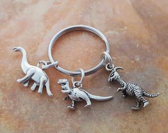 Dinosaur Keyring, Velociraptor, T Rex, Brontosaurus, Dinosaur Keychain, Raptor Gift, Dinosaur Gift, Dinosaur Charm, Jurassic, Dino Gifts