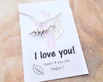 Vegan Necklace, Dinosaur Necklace, Leaf Jewelry, Vegan Valentine, Vegan Gift, Dinosaur Jewellery, Funny Vegan, Vegetarian Jewellery, Gifts