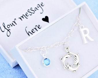 Beach Lover Gift Birthstone Crystal Ocean Charm Initial Charm Marine Life Personalised Gift Sea Turtle Bracelet