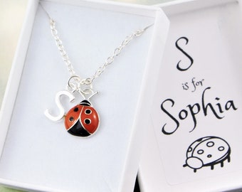 Ladybug Necklace \u2022 3D Gold LadyBug on Sterling Silver Detailed cut-out Leaf \u2022 Dainty Jewelry Best Friend Mother Daughter Gift for her