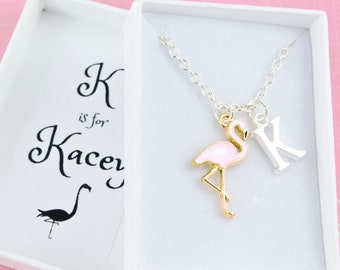 personalized necklace gift for her initial necklace bird jewelry bird necklace flamingo Flamingo charm necklace friend necklace