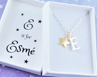 Personalised Necklace, Childrens Jewelry, Name Necklace For Kids, Initial Letter Charm, Leaving Gifts, Personalized Party Favors, Gold Star