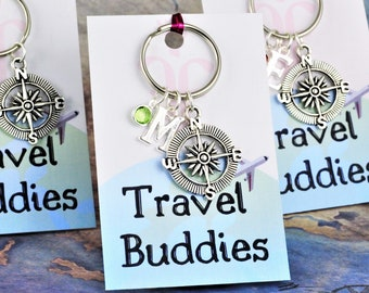 Travel Buddy Keychain, Personalised Compass Keyring, Friendship Group Gifts, Traveling Buddies, Travelling With Friends, BFFs Matching Gifts