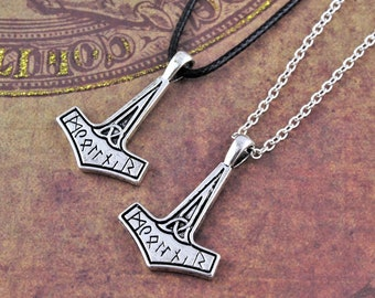 Mjolnir Necklace, Thor's Hammer, Viking Jewelry, Mens Gifts, Norse Mythology