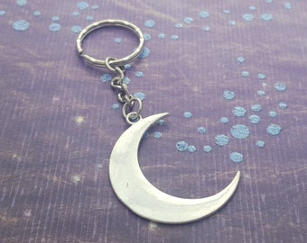 Moon Keychain, Crescent Moon Keyring, Celestial Gift, Lunar Keyring, Planet Charm, Space Gift, Pagan Keychain, Moon Gifts, Fangirl Keychain