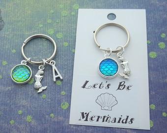 Mermaid Keyring, Let's Be Mermaids, Mermaid Gifts, Personalised Keychain, Mermaid Scales, Mermaid Tail, Nautical Keychain, Beach Accessory