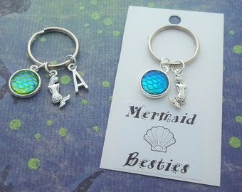 Mermaid Accessory, Best Friend Gift, BFF Keyring, Swimmer Gift, Mermaid Scales, Beach Party Favors, Sealife Keychain, Swim Bag Accessory