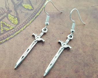 126a4f7c5 Sword Earrings, Dagger Earrings, Sword Jewellery, Medieval Weapon, Geek  Earrings, Silver Sword Charm, Drop Earrings, Dangle Earring, Gift