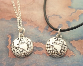 Earth Necklace, Globe Necklace, World Jewelry, Planet Jewelry, Travel Necklace, Map Necklace, Wanderlust Gift, Nature Necklace, Space Gift