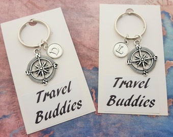 Travel Buddies Keyring, Personalised Keychain, Travelling Accessory, Travel Group Gift, Vacation Keepsake, Compass Keychain, Journey Keyring