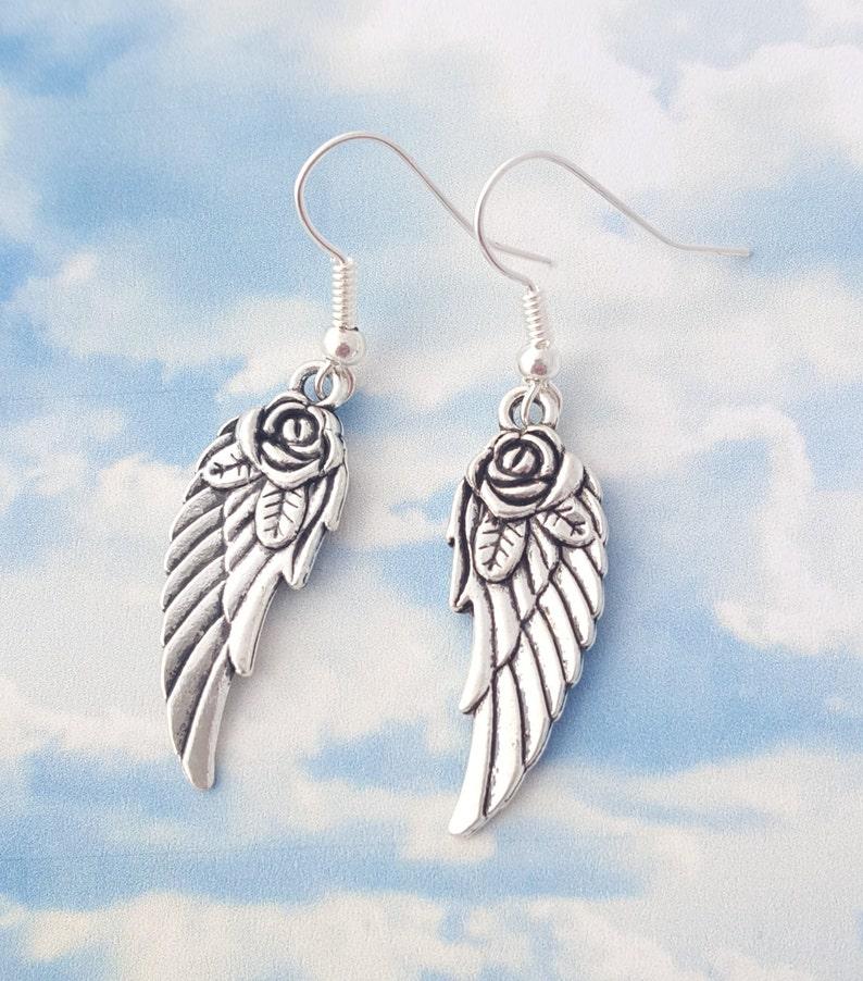 Angel Wing Earrings Angel Jewellery Feather Earrings Rose image 0