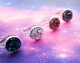 Druzy Ring, Faux Druzy Ring, Resin Druzy, Galaxy Jewellery, Galaxy Ring, Druzy Stone, Druzy Jewellery, Sparkly Ring, Stardust Ring, Druzy