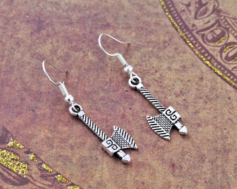Axe Earrings Viking Jewelry Geeky Earrings Dwarven image 0