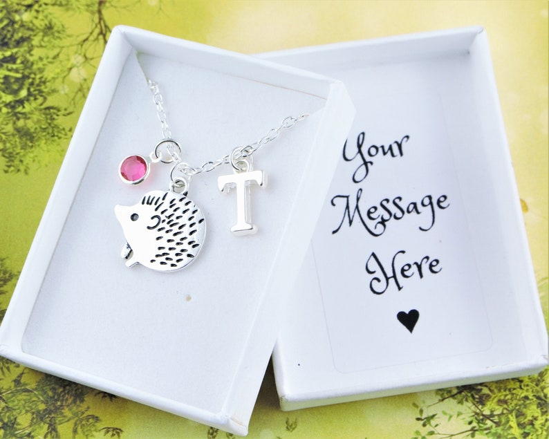 Hedgehog Necklace Personalised Gift Silver Charm image 0
