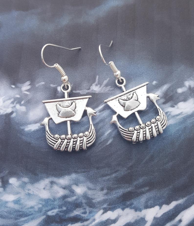 Viking Earrings Norse Myth Viking Boat Earrings Viking Jewellery Viking Longboat Viking Ship Earrings Norse Jewelry Geeky Earrings