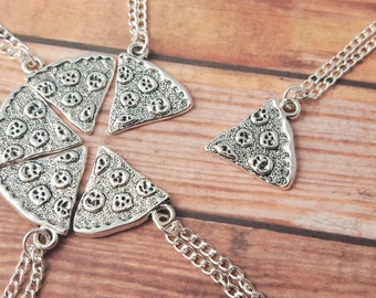 Pizza Necklace, One Slice, Pizza Friendship Necklace, Best Friend Necklace, BFF Gift, Pizza Slice, Pizza Jewelry, Food Jewelry, Squad Gift
