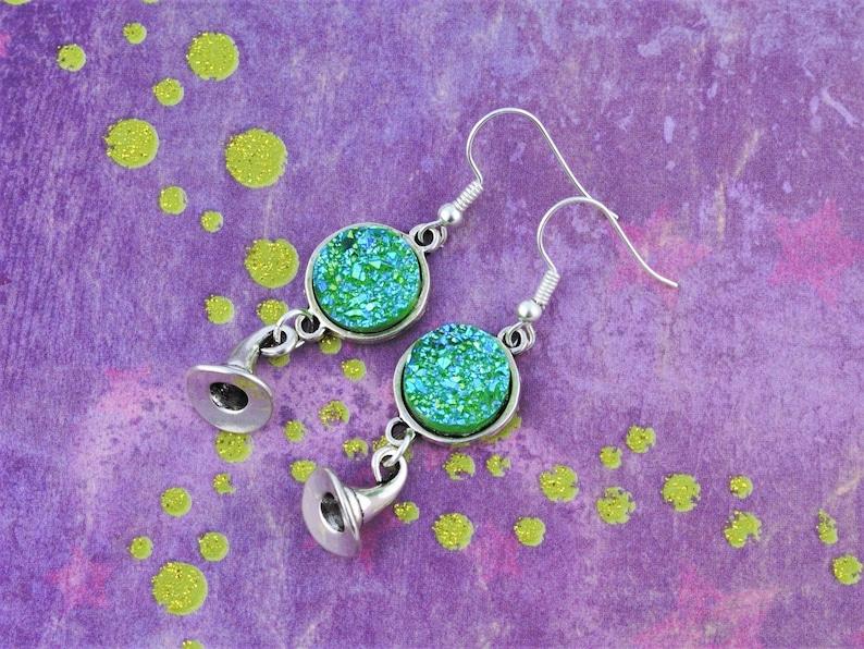 Witch's Hat Earrings Druzy Earrings Green Jewelry image 0