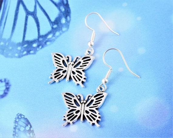 Butterfly Matte Silver Earrings Sterling silver ear wires Birthday woodland nature Symbol Geometric Art Deco filigree art decogift
