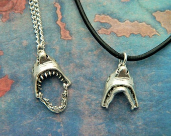 Shark Necklace, Great White Shark, Quirky Jewelry, Leather Necklace, Ocean Jewelry, Mens Gifts, Boys Necklace, Shark Teeth, Nautical Gift