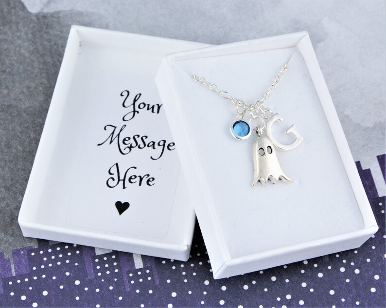 Ghost Necklace Personalised Gift Silver Charm Birthstone image 0
