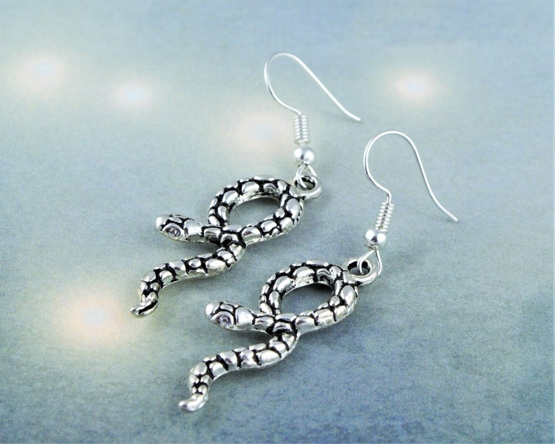 Snake Earrings Serpent Jewelry Reptile Gifts Drop Earrings image 0
