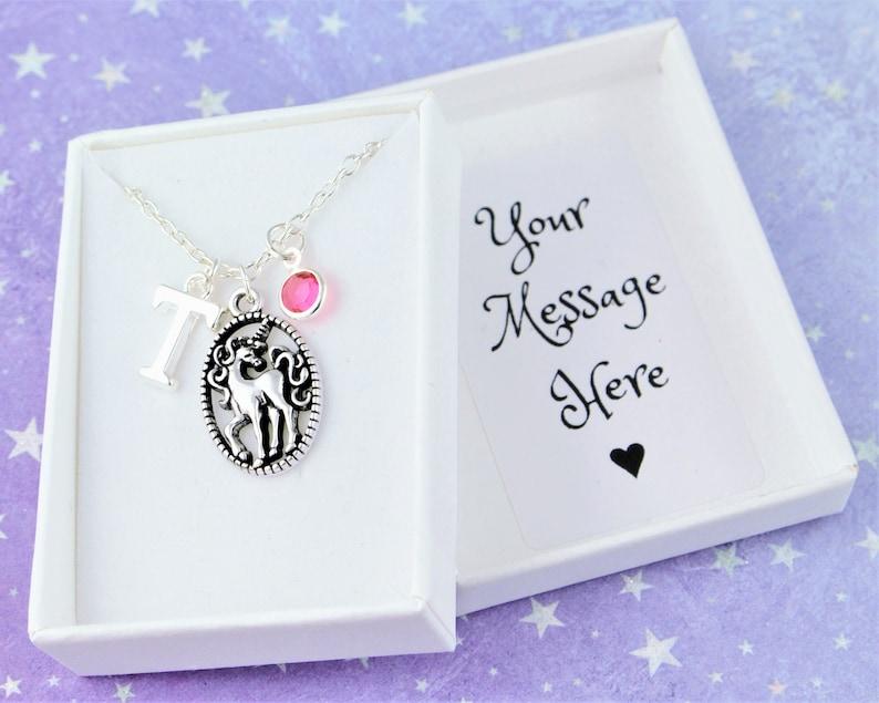 Unicorn Necklace Personalised Gift Fantasy Gift Silver image 0