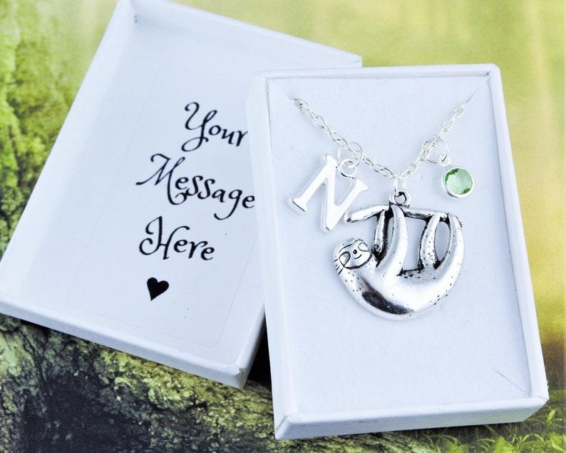 Sloth Necklace Personalised Gift Box Included Initial image 0