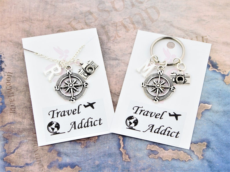 Travel Necklace Or Keyring Compass And Camera Charm Travel image 0