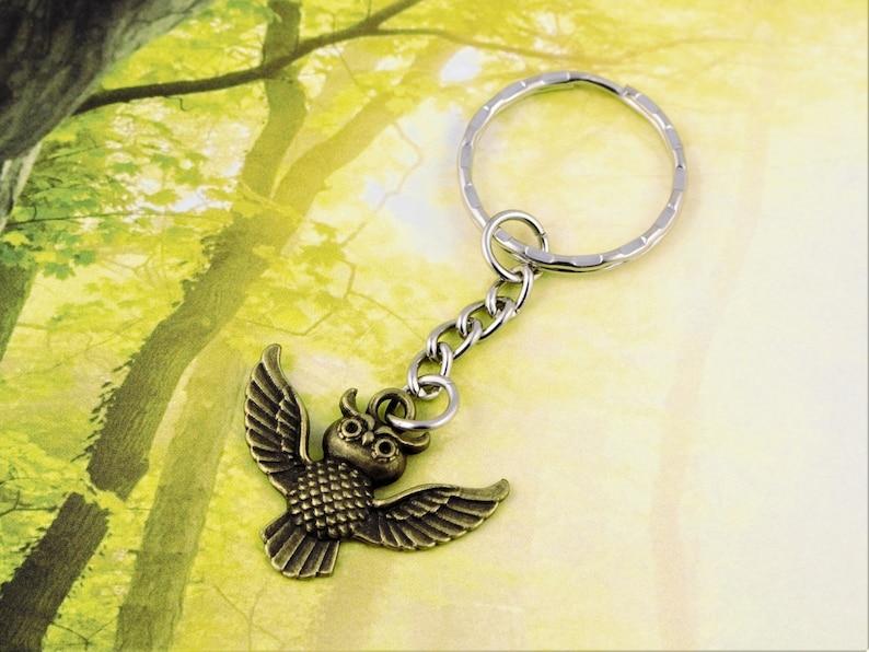 Ancient Bronze Owl Keychain Owl Key Ring Owl Charm Keychain Animal Charm Bird Charm