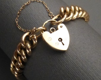 9K Curb Heart Bracelet 585 & Heart Lock Stamped LC 385