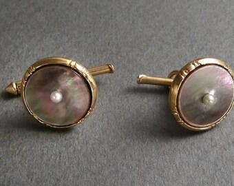 14K MOP cufflinks w/ pearls