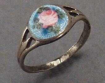 Silver enamel rose baby ring size 2.5 #167