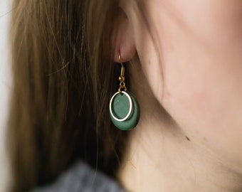 Small Circle Statement Earrings with Gold Plated Elements / Polymer Clay Jewellery / Handmade Accessories / Small Dangle Earrings