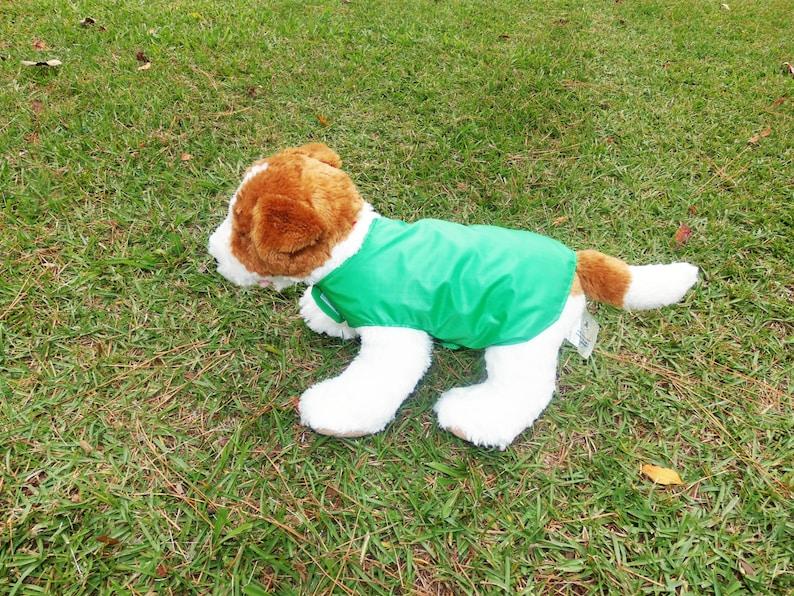 Green Ripstop Nylon Doggie Raincoat Pet Accessories Dog Clothing