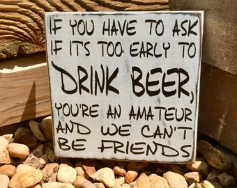 Drink Beer Funny Bar Sign Home Fathers Day Pub Farmhouse Decor Alcohol Wood
