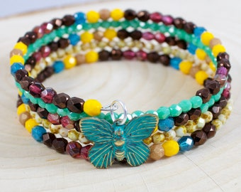 Multicolor Coiled Bracelet - Memory Wire Bracelet - Wrap Around Bracelet - Small Gift Ideas - Best Friend Gift Idea - Butterfly Jewelry