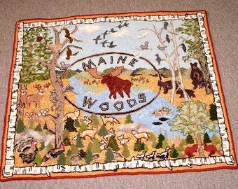Maine Woods Hooked Rug