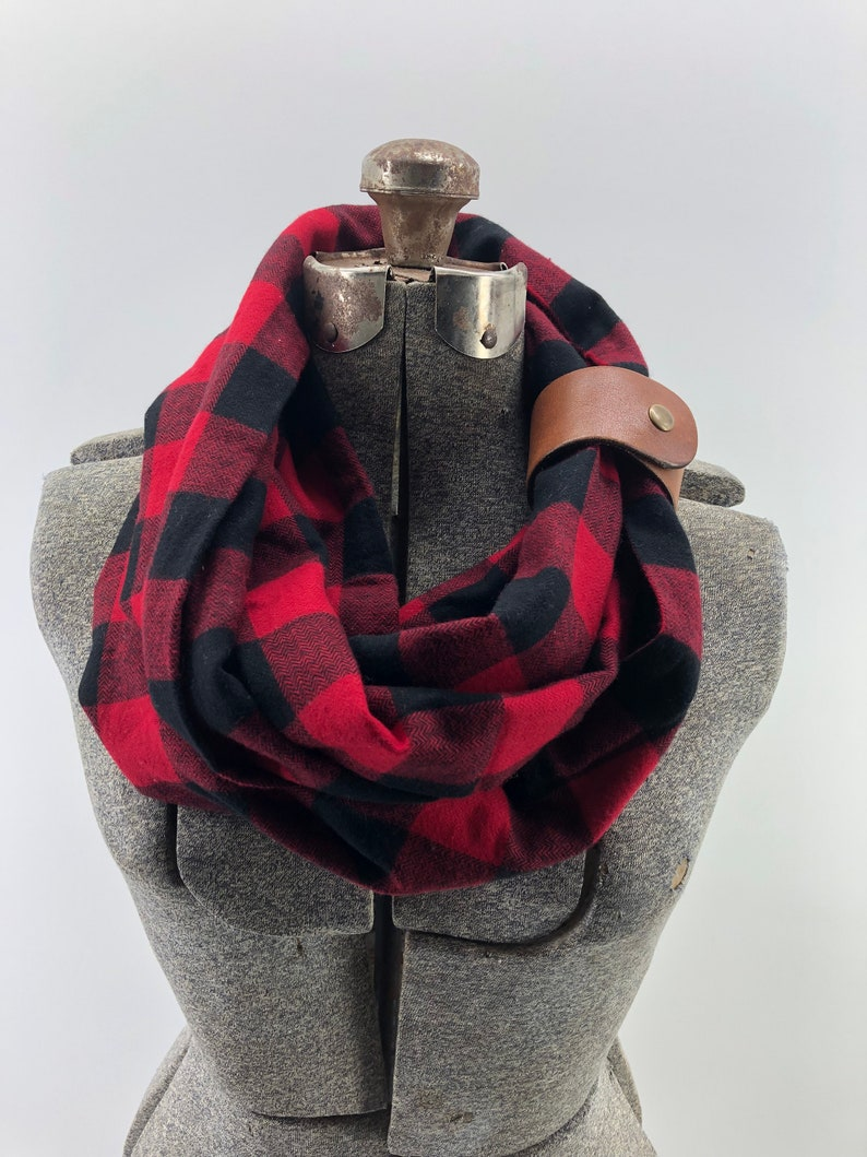 939d669dbbfaa Black and Red Buffalo check plaid flannel eternity scarf with | Etsy