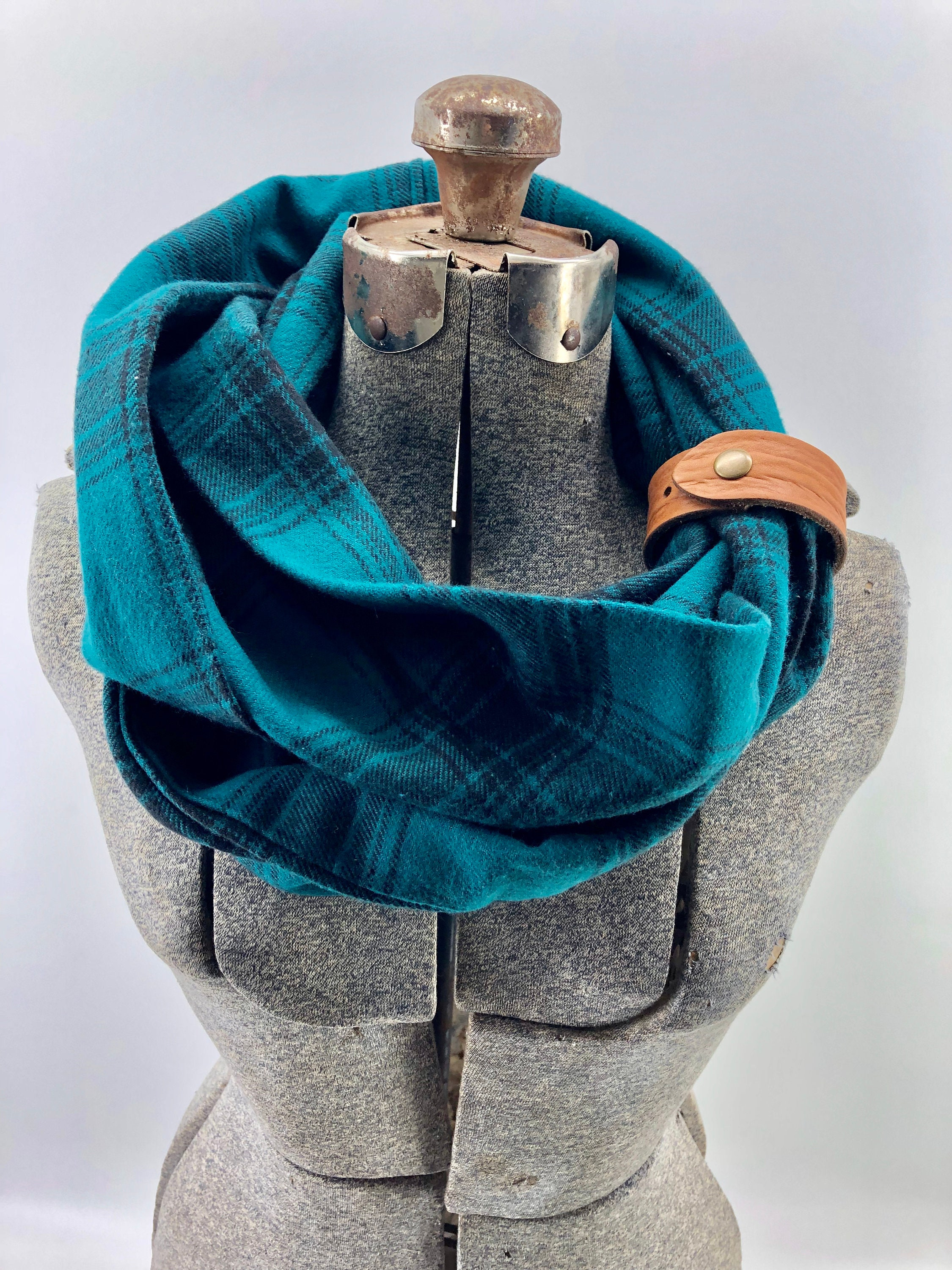 fc27b3285d8bd Teal plaid flannel eternity scarf with a brown leather cuff - soft, trendy