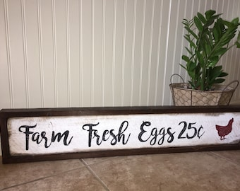 Farm Fresh Eggs rustic wood sign with red hen 25 cents per dozen