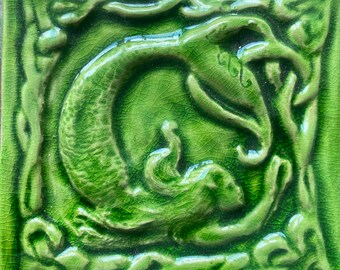 "4""Handmade Celtic Mermaid ceramic bas relief tile in crackle apple  glaze( other glaze options available)"