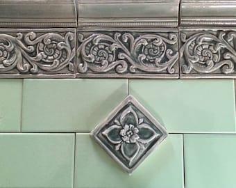 "Set of Four Ceramic handmade bas Relief Unfolding Fern Border tile 3""x6"""