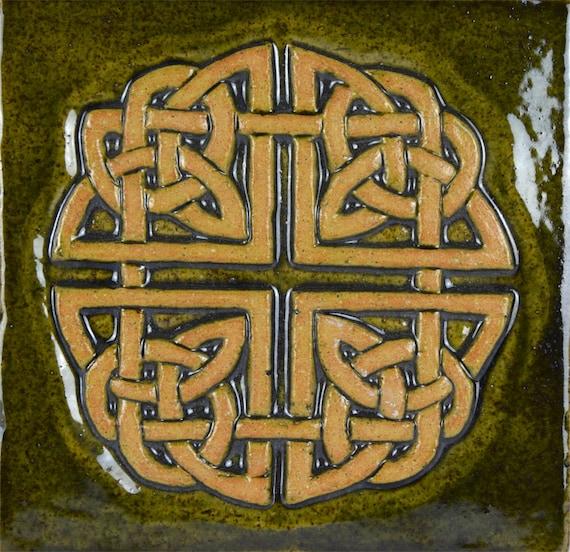 Keltische Knoop Vierkant Keramische Tegels In Moss Groen Etsy