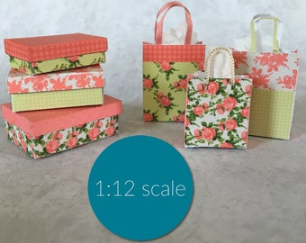 Dollhouse Miniature Shabby Chic boxes and shopping bags (downloadable, DIY)