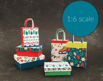 Miniature Christmas Modern Boxes and Shopping Bags 1:6 SCALE (downloadable, DIY)